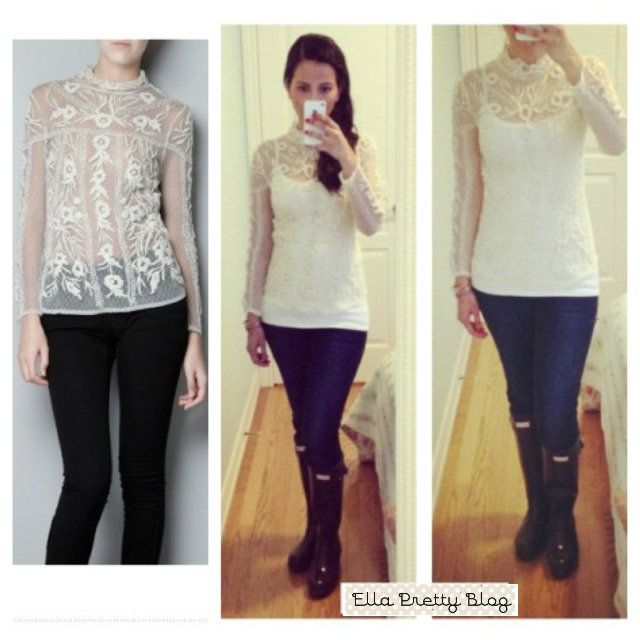 Cream Lace blouse by ZARA