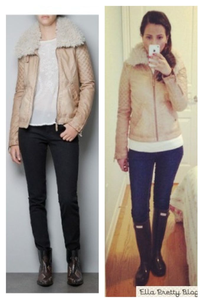 Camel Faux Leather jacket by ZARA